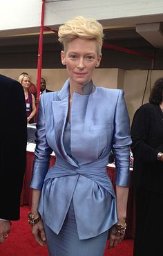 Interesting. Classy. Great Color. Strange hair, Tilda.