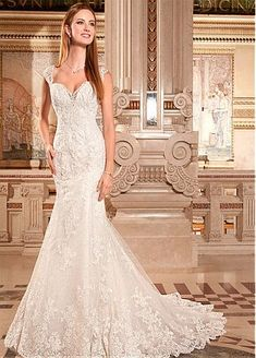 Elegant Tulle Queen Anne Neckline Natural Waistline Mermaid Wedding Dress With Beaded Lace Appliques