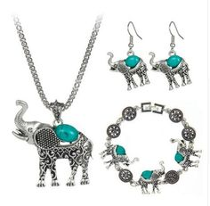 Bohemian Style Fashion Green/Red/Black Turquoise Jewelry Vintage Cute Elephant Necklace For Women Girl