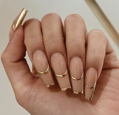 Almond Nails French, Long French Tip Nails, Colored French Nails, Classy Almond Nails, Colored Gold, Milky Nails, Best Acrylic Nails, Bling Acrylic Nails, Simple Acrylic Nails
