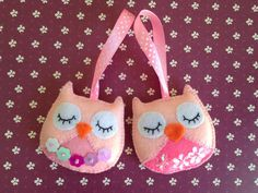 Set of 2 beautiful felt Owl ornaments. These felt ornaments are hand embroidered and hand stitched. Great Birthday or Christmas gift. Ornaments measure