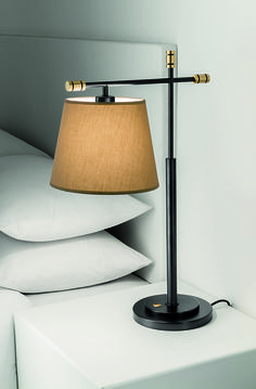 Our fantastic Boston table lamp in Black Bronze with English Brass