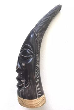 "Cow Horn Tribal Figure Steer Horn Carved Polished  Long Horn, 9.5"""