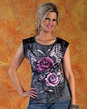 Rock 47 by Wrangler Ladies Rose Scoop Neck Shirt - www.fortwestern.com