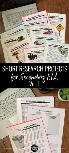 SHORT research projects for secondary ELA, with engaging real-world topics to hook middle or high school English students. Great alternative to a massive research paper! High School Writing, Middle School Ela, Middle School English, Writing Lessons, Teaching Writing, Teaching English, Teaching Literature, Writing Activities, Math Lessons