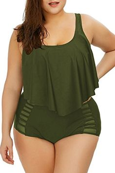online shopping for Sovoyontee Women Plus Size Ruffles High Waisted Swimsuit Bikini Sets Bathing Suit from top store. See new offer for Sovoyontee Women Plus Size Ruffles High Waisted Swimsuit Bikini Sets Bathing Suit Women's Plus Size Swimwear, Plus Size Bikini, Plus Size High Waisted Bikinis, Plus Size Maxi Dresses, Plus Size Outfits, Ivory Dresses, Beach Dresses, Dresses Uk, Evening Dresses