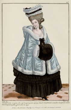 This plate description states the pelisse is grey and bordered in swan.  I believe this also to be a mourning costume