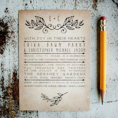Rustic Wedding Invitation Suite - Laurels