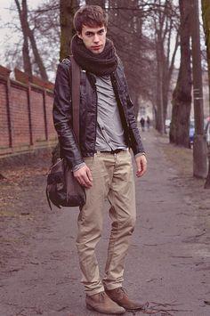 Oversized scarf with leather jacket.