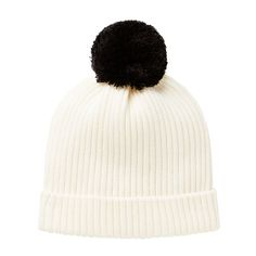 100% Cotton Beanie. 2x2 rib beanie with turn over hem. Features contrast pom pom. Regular fitting silhouette. Available in Canvas. One Size.