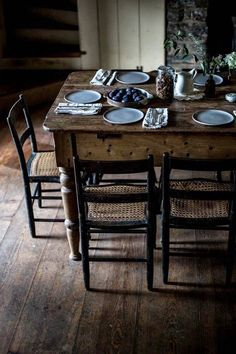 Love the floors, table, chairs with black and woven cane seats. Local Milk, Farmhouse Table, Farmhouse Interior, Rustic Table, Vintage Table, Country Decor, Country Living, Rustic Decor, Dining Area