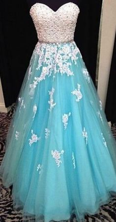 Charming White Lace Appliques Blue Tulle Evening Dress