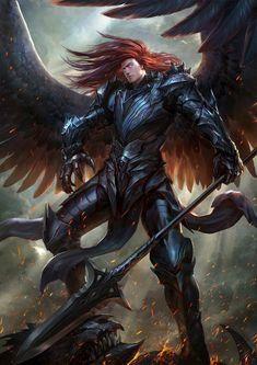 Fantasy Male, Fantasy Warrior, Dark Fantasy Art, Fantasy Artwork, Male Angels, Angels And Demons, Dnd Characters, Fantasy Characters, Fantasy Character Design