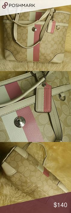 """Coach shoulder bag /Signature Collection/ Conditions like new,100% authentic #B1077-F14477 ? Graphic Op Art Saffiano leather with leather trim and polished silver tone hardware ? Lined interior with zippered pocket & 2 multifunctional pockets ? Zippered top closure ?  Accents beneath handles on the front&back ? Dual handles with a drop of 8"""" ?  Original Coach Hangtags Coach Bags Shoulder Bags"""