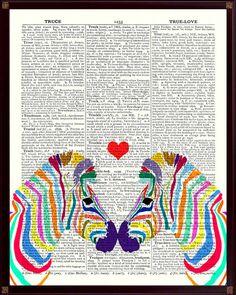 Digitaldruck - Zebra-Druck,  vintage Wórterbuchseite reproduktion - ein Designerstück von PrintLand bei DaWanda