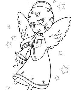 angelo di natale da colorare