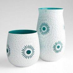 Cyan Cameo Vase