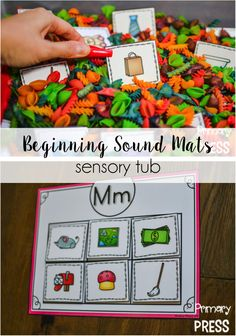 These beginning sound mats are perfect with a sensory tub in pre-k and kindergarten