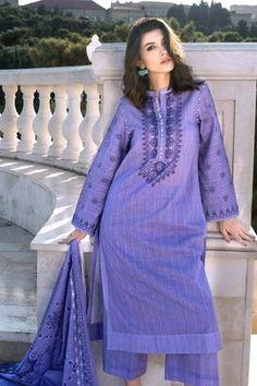 Gul Ahmed 3 Piece Custom Stitched Suit - Purple - 181100