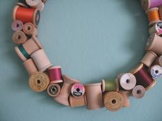 Spool wreath. Cute for a sewing room!