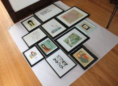"""I first learned the 57"""" rule on Apartment Therapy three years ago and it's helped take the guess work out of how high to hang anything in any space. 57"""" is the average person's eye level so galleries tend to hang art work at this height."""
