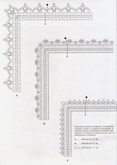 Edging - charted only, many with corners Many free crochet edging patterns: Crochet Border Patterns, Crochet Boarders, Crochet Stitches Chart, Crochet Lace Edging, Crochet Motifs, Crochet Diagram, Thread Crochet, Crochet Designs, Crochet Doilies