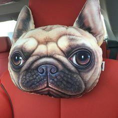 Teste Padrão Do Cão 3D Animal Impresso Travesseiro Descanso de Cabeça Do Carro Bonito dos desenhos animados de Pelúcia Auto Cintura Da Espuma Da Memória Encosto de cabeça Pescoço Rest Oblongo travesseiro