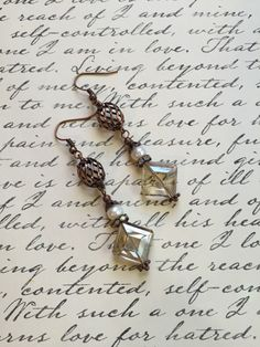 Citrine earrings copper earrings pearl earrings by ABBGDesigns