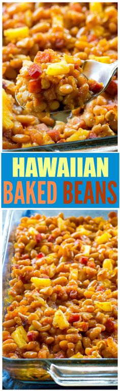 Hawaiian Baked Beans - sweet and salty with bits of ham throughout! A great side for luaus or BBQs. the-girl-who-ate-. Bean Recipes, Side Dish Recipes, Hawaiian Baked Beans, Good Food, Yummy Food, Delicious Dishes, Vegetable Side Dishes, Sweet And Salty, Food Dishes