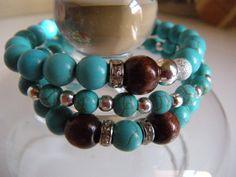 Turquoise/Wood/Silver Beaded Bracelet Set by MiSogno on Etsy, $30.00