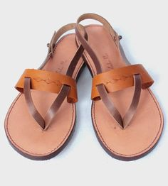 Leather Thong & Ankle Strap Sandals