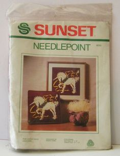 Sunset Needlepoint Kit The Christmas Unicorn 1982 No. Christmas Unicorn, Needlepoint Kits, Christmas In July, Color Print, Craft Kits, Robin, Projects To Try, York, Sunset
