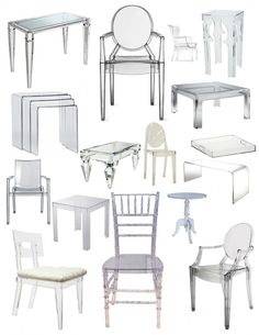 The Clear Style Of Lucite. Lucite Furniture, Glass Furniture, Living Furniture, Furniture Design, Acrylic Dining Chairs, Acrylic Chair, Acrylic Furniture, Salon Styling Chairs, Luxury Chairs