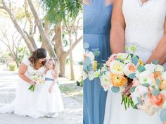 French Blue Dresses + Coral/Pink Bouquets | Water-Inspired Spring Wedding at Lowndes Grove in Charleston | Dana Cubbage Weddings | Charleston SC Wedding Photography