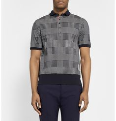 Thom BrownePrinted Cotton-Jersey Polo Shirt