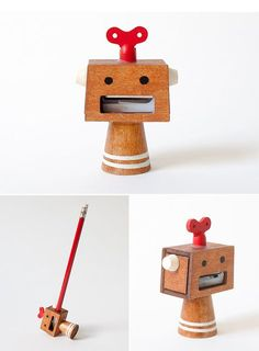 A collection of playful desk accessories to distract you while you work. Dyi Crafts, Wood Crafts, Pencil Sharpener, 3d Prints, Cool Inventions, Office Accessories, Wood Toys, Crayon, Wood Projects