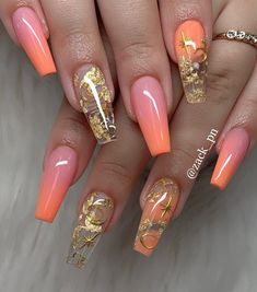2019 Trendy and Creative Nail Designs to Try - Naija's Daily Cute Acrylic Nail Designs, Creative Nail Designs, Best Acrylic Nails, Beautiful Nail Designs, Creative Nails, Orange Nail Designs, Art Designs, Design Ideas, Acryl Nails
