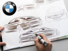 An official overview of the BMW design philosophy, with a summary of the distinctive styling cues of the brand and a gallery of images including new sketches and photos. Bmw Design, Car Design Sketch, Truck Design, Car Sketch, Sketching Techniques, Bmw 6 Series, Sketches Of People, Industrial Design Sketch, Cool Sports Cars