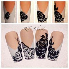 Step by step Gel Nail Art, Nail Manicure, Diy Nails, Square Oval Nails, Gothic Nails, Lace Nails, Flower Nail Art, Nail Tutorials, Nail Arts