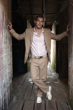 #groom casual tan wedding suit ... For a Dress Code for Grooms ... https://itunes.apple.com/us/app/the-gold-wedding-planner/id498112599?ls=1=8  ♥  The Gold Wedding Planner iPhone App ♥