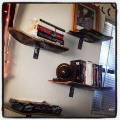 shelfs made from broken skateboards