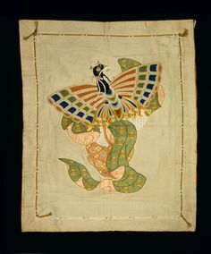 Cream silk fukusa (gift cover) with embroidered design of a dancer performing the butterfly dance: Japan, mid-Meiji era, 1884 - 1899