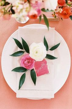 These DIY place cards would be perfect for any event, whether it's a fancy bridesmaid luncheon or summer dinner party. Apple Blossom Festival, Peach Color Palettes, Floral Wedding, Wedding Flowers, Diy Place Cards, Tie The Knot Wedding, Bridesmaid Luncheon, Wedding Planning Tips, Wedding Styles