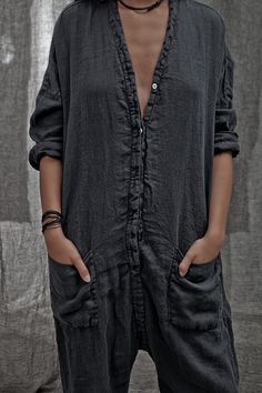 washed cotton slouchy jumpsuit love this charcoal black grey pockets poppers