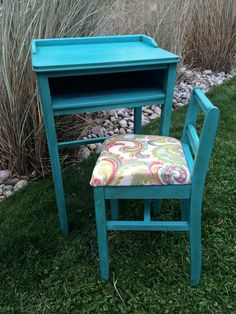 This hand painted turquoise and gently distressed table and chair has found its forever family.