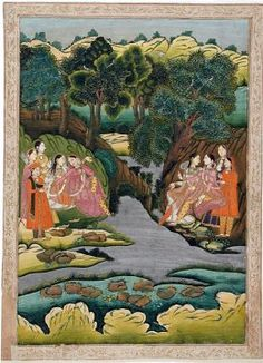 Royal Ladies Conversing across a Stream c. 1775 India, Uttar Pradesh, Farrukhabad, Opaque watercolor and gold on paper,