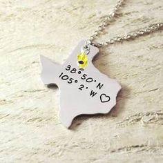 Texas Necklace longitude, latitude alloy 925 sterling silver heart ...