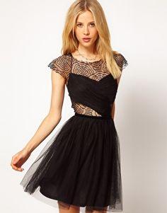 ASOS Skater Dress with Cobweb Lace