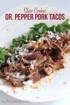 Slow Cooker Dr. Pepper Pork Tacos.  YUM.  My husband and I are obsessed with this recipe.