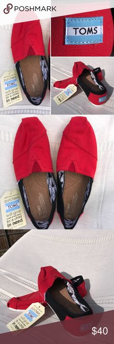 NWT Black and Red TOMS Shoes NWT  Black and Red TOMS Shoes Never worn Would make a great gift! 💕🎁 Feel free to make an offer or add to a bundle 😊 Toms Shoes Flats & Loafers